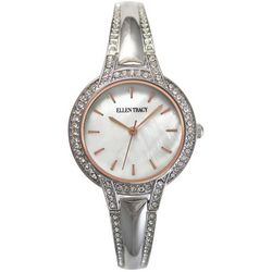 Ellen Tracy Womens Mother Of Pearl Face Rhinestone Watch