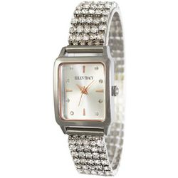 Ellen Tracy Womens Silvertone Rhinestone Rectangle Watch