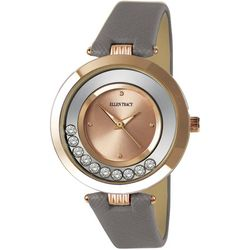 Ellen Tracy Womens Floating Rhinestones Leather Band Watch