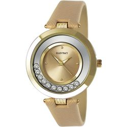 Ellen Tracy Womens Champagne Floating Rhinestones Watch