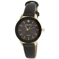 Ellen Tracy Womens Diamond Collection Black Watch
