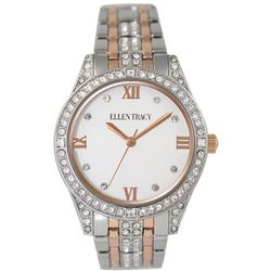 Ellen Tracy Womens Two Tone Rose Rhinestone Accents Watch