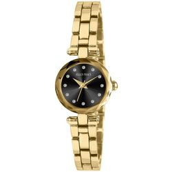 Ellen Tracy Womens Mini Faceted Gold Tone Watch