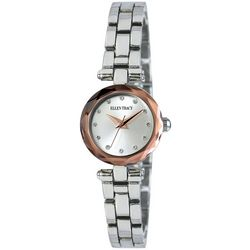 Ellen Tracy Womens Mini Faceted Silver Tone Watch