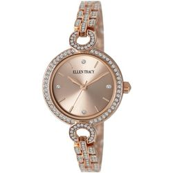Ellen Tracy Womens Rhinestone Links Rose Tone Mini Watch