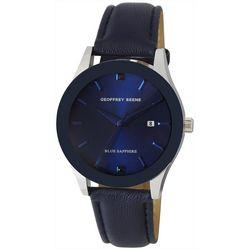 Geoffrey Beene Men's Silvertone Sapphire Watch