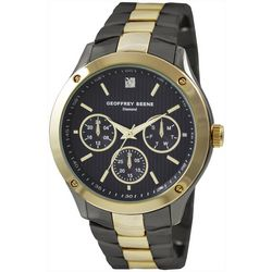 Geoffrey Beene Mens Gold Tone Gunmetal Diamond Chip Watch