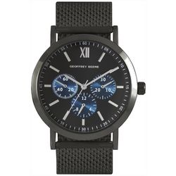 Geoffrey Beene Mens Gunmetal Mesh Band Strap Watch