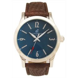 Mens Blue Face Textured Brown Strap Watch