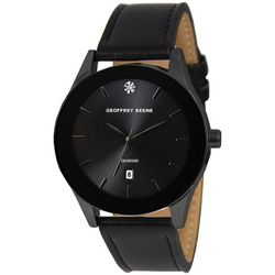 Geoffrey Beene Mens Black Sleek Strap Watch