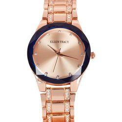 Ellen Tracy Womens Rhinestone Accented Two Tone Watch
