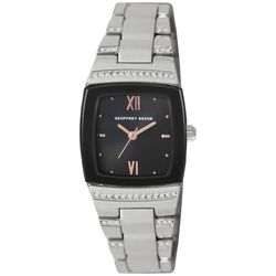 Geoffrey Beene Womens Roman Numeral Silver Tone Watch