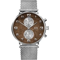 Mens Silver Tone & Faux Wood Watch