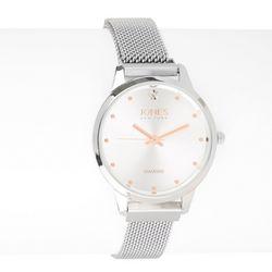 Jones New York Womens Diamond Silver Tone Analog Watch