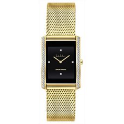 Nicole Miller Gold Tone Rectangle Mesh Band Watch