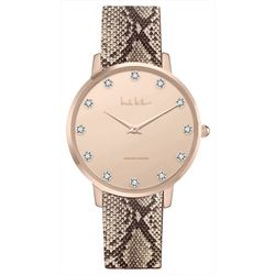 Nicole Miller Rose Gold Snake Print Strap Watch