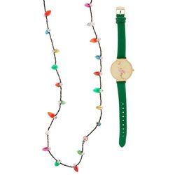 Bay Studio Holiday Flamingo Watch & Necklace Set