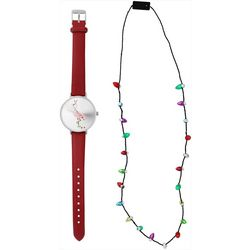 Bay Studio Holiday Flamingo Watch & Necklace Set