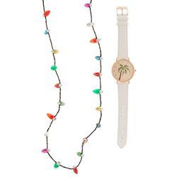 Bay Studio Holiday Palm Tree White Watch & Necklace Set