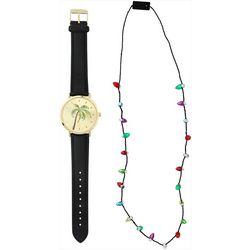 Bay Studio Holiday Palm Tree Watch & Necklace Set