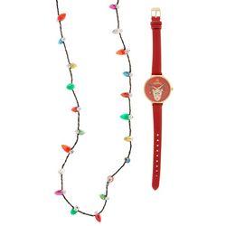 Bay Studio Holiday Reindeer Watch & Necklace Set