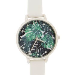 Bay Studio Womens Gold Tone Palm Leaf Face Strap Watch
