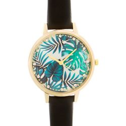 Bay Studio Womens Silver Tone Palm Leaf Face Strap Watch