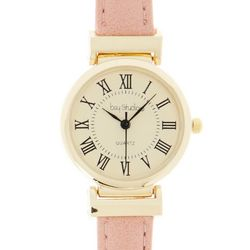 Bay Studio Womens Roman Numeral Gold Tone Watch