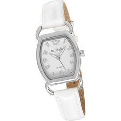 Bay Studio Rectangle EZ Read White Strap Watch