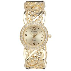 Bay Studio Womens Gold Tone Filigree Bangle Watch