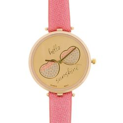 Bay Studio Womens Hello Sunshine Pink Strap Watch