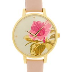 Bay Studio Womens Round Dial Flower Face Strap Watch