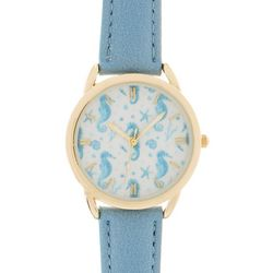 Bay Studio Womens Gold Tone & Light Blue Seahorse Face Watch