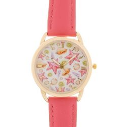 Bay Studio Womens Gold Tone & Seashell Face Pink Strap Watch