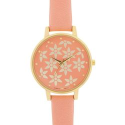 Bay Studio Womens Gold Tone & Coral Floral Face Watch