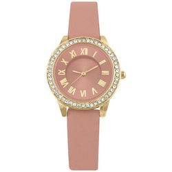 Bay Studio Womens Rhinestone Coral Pink Strap Watch