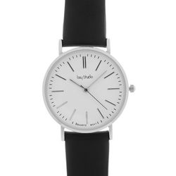 Bay Studio Womens Roman Numerals Black Strap Watch