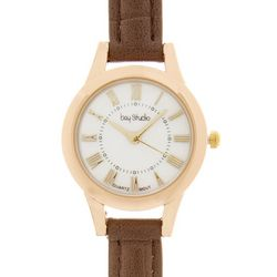 Bay Studio Womens Roman Numeral Faux Croco Strap Watch