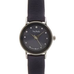 Bay Studio Womens Round Dial Navy Blue Strap Watch