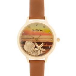 Bay Studio Womens Gold Tone Floating Shell Charms Watch