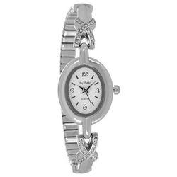 Bay Studio Womens Silver Tone Rhinestone Oval Dial Watch