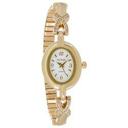 Bay Studio Womens Gold Tone Rhinestone Oval Dial Watch