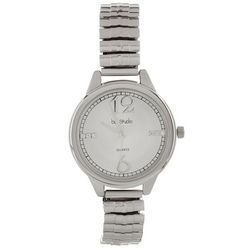 Bay Studio Womens Silver Tone Embellished Dial Stretch Watch
