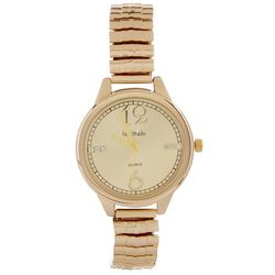Bay Studio Womens Gold Tone Embellished Dial Stretch Watch