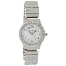 Bay Studio Womens Silver Tone Rhinestone Bezel Stretch Watch