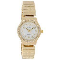 Bay Studio Womens Gold Tone Rhinestone Bezel Stretch Watch