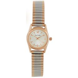 Bay Studio Womens Two Tone Circle Dial Stretch Watch