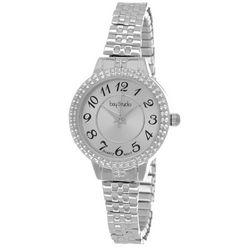 Bay Studio Womens Silver Tone Textured Dial Stretch Watch