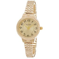 Bay Studio Womens Gold Tone Textured Dial Stretch Watch