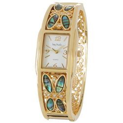 Bay Studio Womens Gold Tone & Abalone Shell Cuff Watch